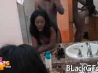 luscious black babe rides cock exposing her massive butt