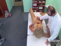 Doctor creampied blonde babe