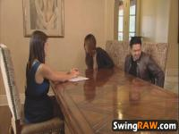 Guy watches hot lesbian swinger action