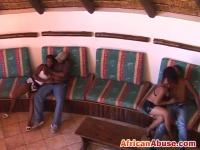 African nymphos getting fucked in wild foursome