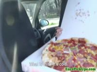 Euro amateur pulled during pizza run for sex