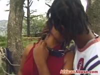 Naughty African Girl Sucks Black Dick While Wearing Kinky Leather Outfit