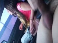 Slutty car blowjob video