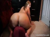 Milf with a huge ass riding a big dildo on a webcam show