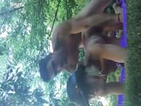 Teen couple having hardcore sex outdoors in the garden