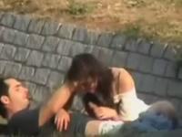 Horny couple fucking hard outdoors