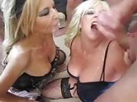 Two dirty moms swallow loads of cum