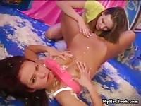 Two tight petite teen lesbians getting each other off