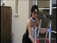 Sexy brunette maid