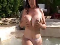 Tease with massive tits