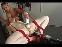 Bound bitch fucked by a machine