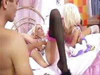Insatiable teen enjoying a bisexual orgy