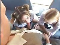 Two teen tarts do dirty things on the bus