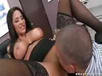 Jenaveve Jolie bounces her big tits and juicy ass as she fucks
