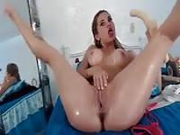 A  hot solo with a long dildo