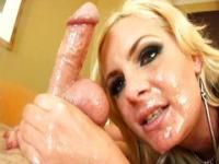 Blond chick plays with bawbag and dick