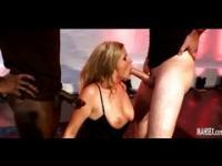 Blonde with big tits gives gang bang on horny