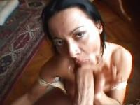 Sandra in sexy underwear sucks it dry
