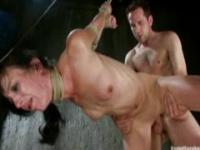 Girl double penetrated in bdsm gangbang