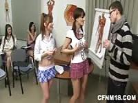 Schoolgirls fucking the substitute teacher
