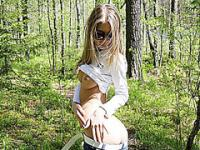 Sweet amateur teen teases outdoors until she gets the fucking she wanted