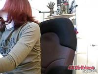 Naughty redhead exgirlfriend teasing on camera