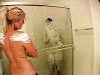 Amateur teen college sluts fuck around in the shower