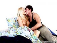 Salacious blonde russian teen deepthroats hard cock