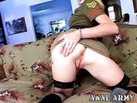 Amazing blonde army whore Hayley Rivers fingering her asshole and getting anally fucked hard