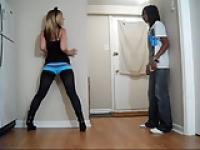 Ballbusting - Teen Knees in Blue Booty Shorts