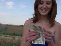 Redhead teen slut gets fucked in a strawberry field