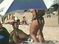 Walking beach booty jiggling butt cheeks - 01