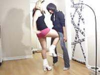 Ballbusting - Teen White Boots Brutal Shots to the Balls!