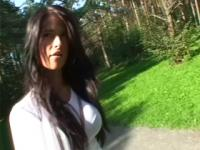 Horny GF blows him while walking the dog