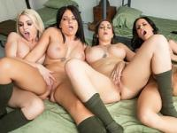 New brunette recruit is fucked by her three superior officers