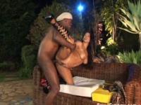 Brazilian gets black cock in asshole