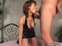 Slim Japanese slut falls to her knees for a blowjob uncensored
