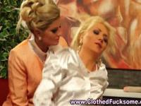 Clothed lesbian threesome dildo play