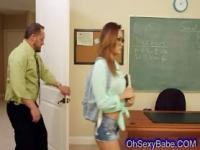 Sexy asian schoolgirl sucking her teacher swollen cock