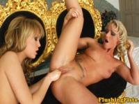 Blonde lesbian fisted and licked