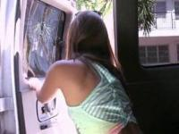 Hot teen licking and sucking fine dick in the sex bus