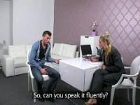 Blonde female agent wanking dick in office