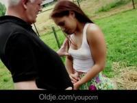 Countryside grandpa bangs a sweet horny teenie
