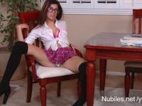 Perky tit teen Ava Taylor plays naughty schoolgirl