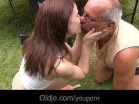 Old perv plays a sweet redhead teeny