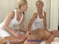 Massage Rooms Raunchy lesbian threesome after sensual oil massage