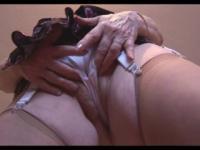 Busty hairy granny striptease