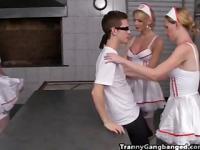 Six Horny Tranny Nurses Gang Bang Patient