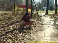 busty babe forest pissing
