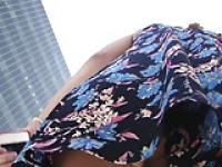Flower dress g-string upskirt